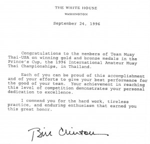Letter of commendation from President Bill Clinton